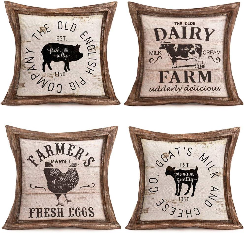 Amazon Com Hopyeer 4pcs Vintage Wood Rustic Farmhouse Decor Throw Pillow Covers Retro Fresh Farm Animals Pig Cow Big Rooster Sheep Quote Cotton Linen Pillowcase For Sofa Chair Cushion Case Cover18 X18 Wr Farm Home