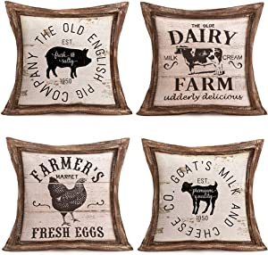 Hopyeer 4Pcs Vintage Wood Rustic Farmhouse Decor Throw Pillow Covers Retro Fresh Farm Animals Pig Cow Big Rooster Sheep Quote Cotton Linen Pillowcase for Sofa Chair Cushion Case Cover18