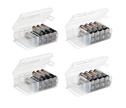 GlossyEnd Set Of 4   Two AA And Two AAA Battery Storage Box, Battery Storage