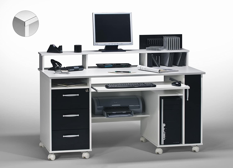 Contemporary computer matelpro bureau blanc noir andria amazon
