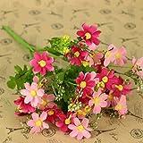 HuntGold - Bouquet di crisantemi artificiali, in stoffa, per matrimoni e feste, colore: fucsia