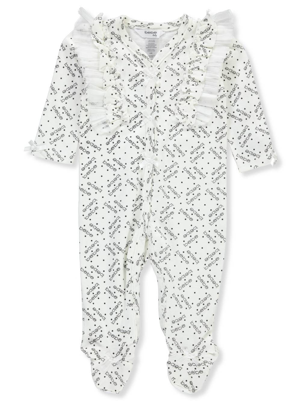 Bebe Baby Infant Footed Coverall 6-9 Months Ivory