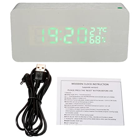 Solmore Mini LED Digital Wooden Digital Alarm Clock Calendar Thermometer Alarm time Humidity USB Cable/Battery powered white