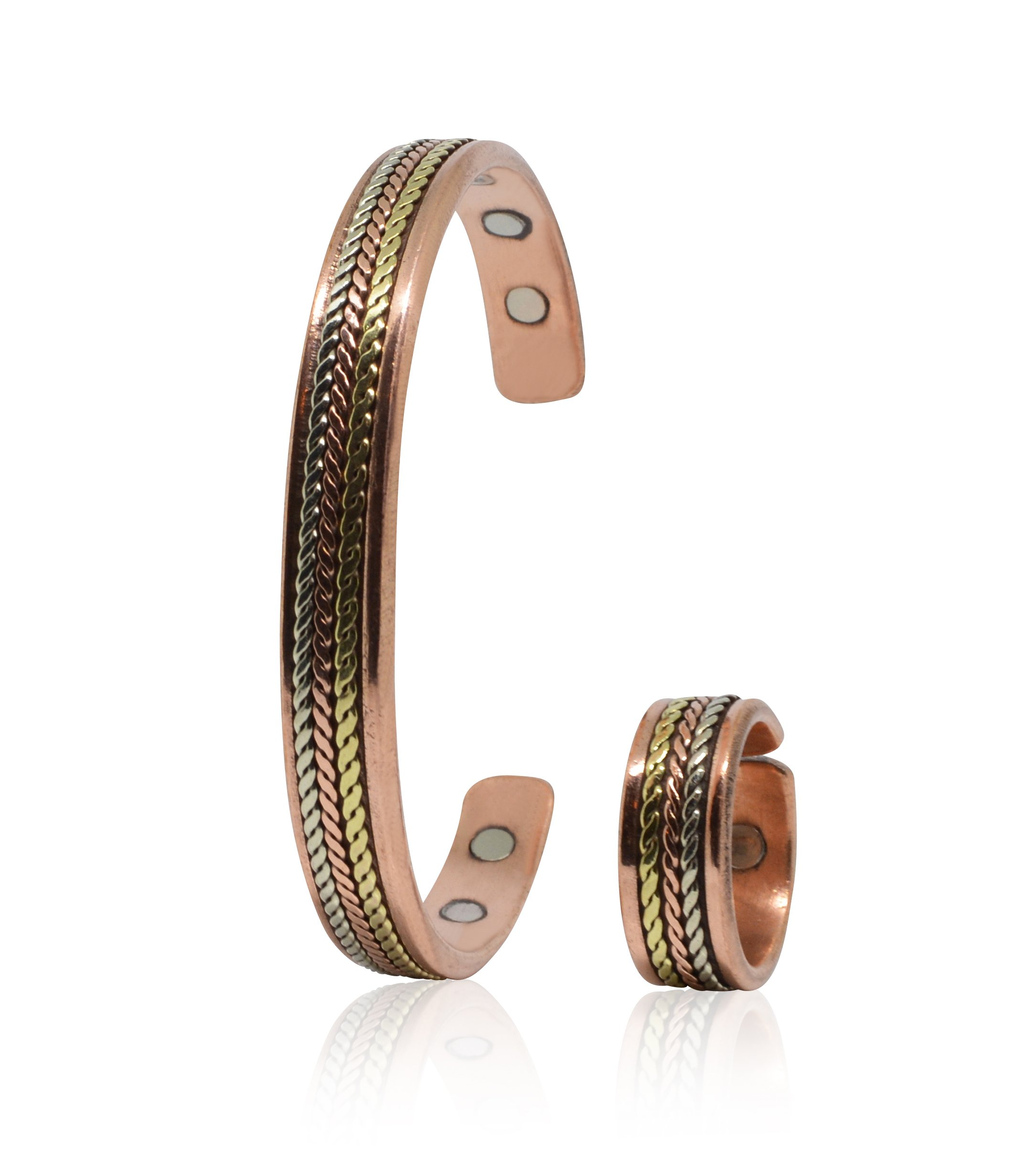 Handmade Copper Bracelet and Ring for Men and Women-Arthritis Therapy Magnetic Bracelets with 6 Powerful Magnets-Effective & Natural Relief for Joint Pain and Arthritis(Braided Inlay+Ring)