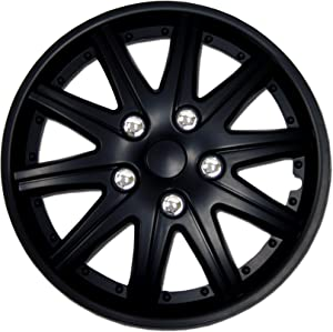 TuningPros WSC-027B14 - Pack of 4 Hubcaps - 14-Inches Style Snap-On (Pop-On) Type Matte Black Wheel Covers Hub-caps