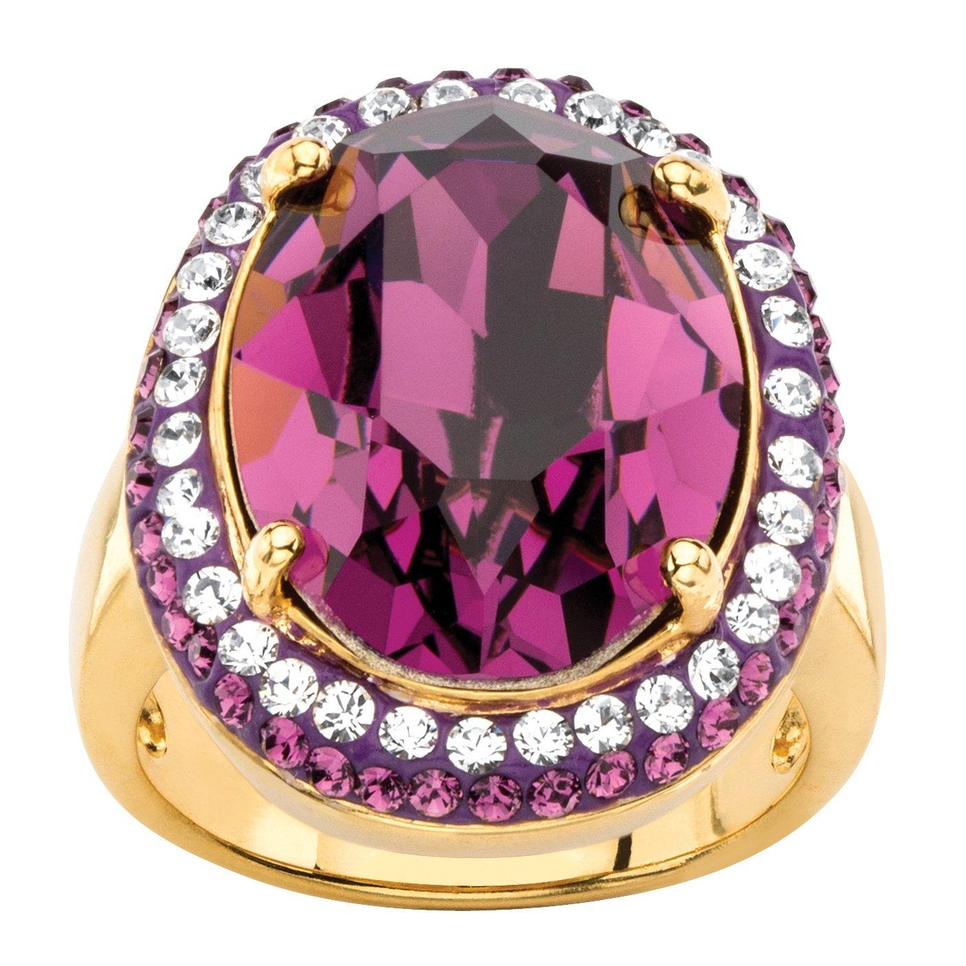 Palm Beach Jewelry 18K Yellow Gold-Plated Oval Purple Halo Ring Made Swarovski Elements Size 6