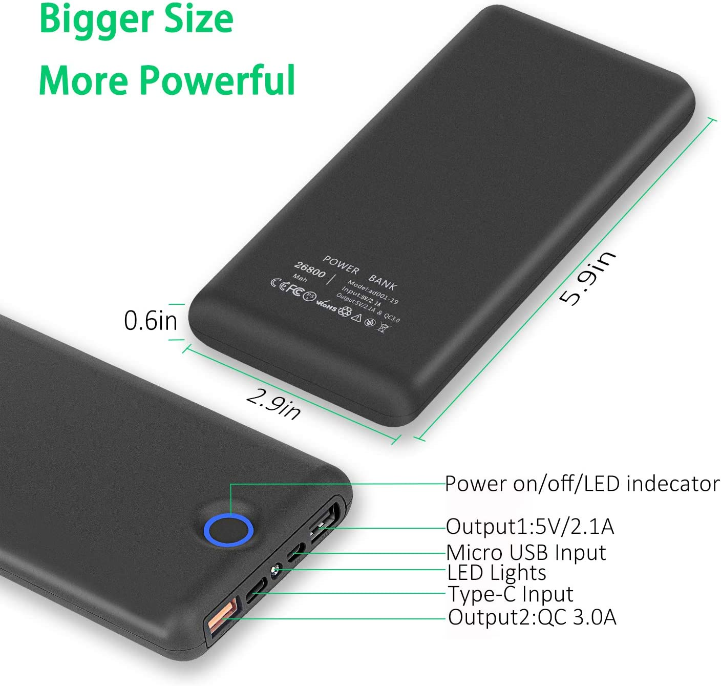 KIVTEET Power Bank 26800mAh Portable Charger High Capacity External Battery Pack with Ring Power Display Ultra Compact Quick Charge Power Banks for Moible Phones Tablet and More