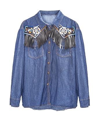 1edc81a06b1 LRT Women s Floral Embroidery Denim Blouse Tassel Shirts (Asian S US XXS