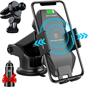 Wireless Car Charger Mount, Flashda 15W Auto-Clamping Car Phone Holder for Dashboard/Air Vent/Windshield, Qi Fast Charging Phone Car Mount for iPhone 12/12 Pro Max/XS/X,Samsung S20/S10/Note10 and More