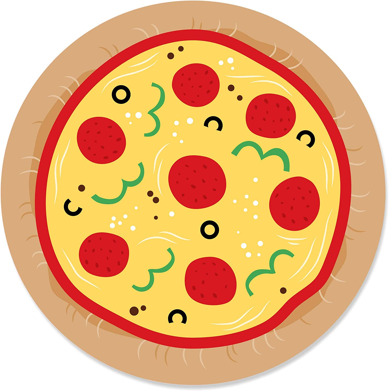 Big Dot of Happiness Pizza Party Time 24 Count Baby Shower or Birthday Party Circle Sticker Labels