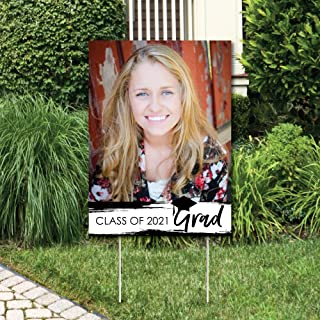 product image for Big Dot of Happiness Custom Black and White Grad - Best is Yet to Come - Photo Yard Sign - Black and White 2021 Graduation Party Decorations