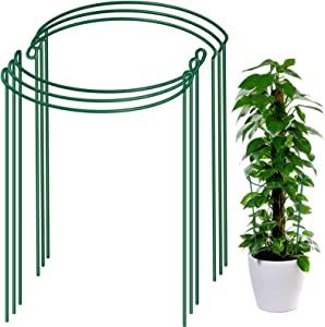 6 Pack Plant Support Plant Stakes, LEOBRO Metal Plant Supports for The Garden, Plant Cage, Plant Support Ring, Plant Support Stake for Tomato, Hydrangea, Indoor Leafy Plants, 9.4