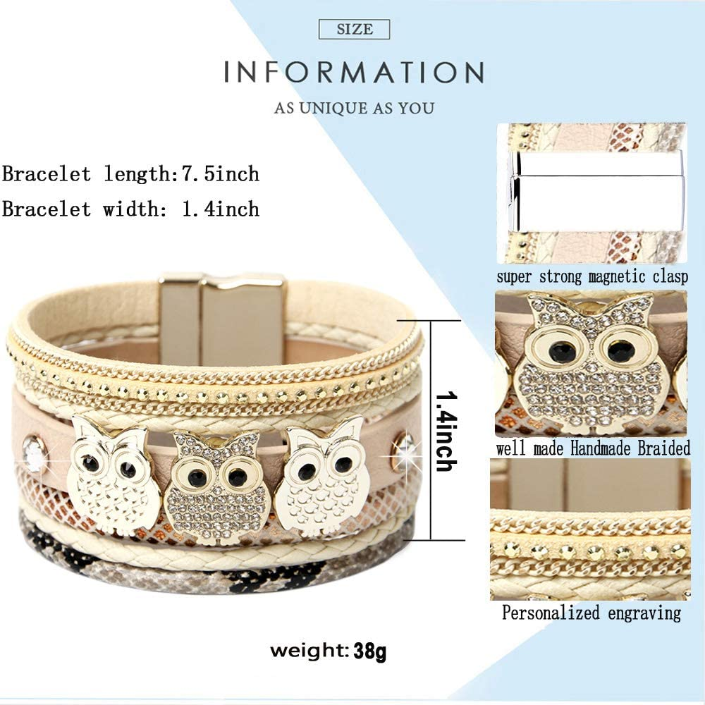 DESIMTION Leather Boho Wrap Around Stacking Bracelet,Cuff Animal Owl Multilayer Soft Wide Wrist Magnetic Clasp Metal Buckle Casual Bracelets for Women Mom Teen Girls Grandma