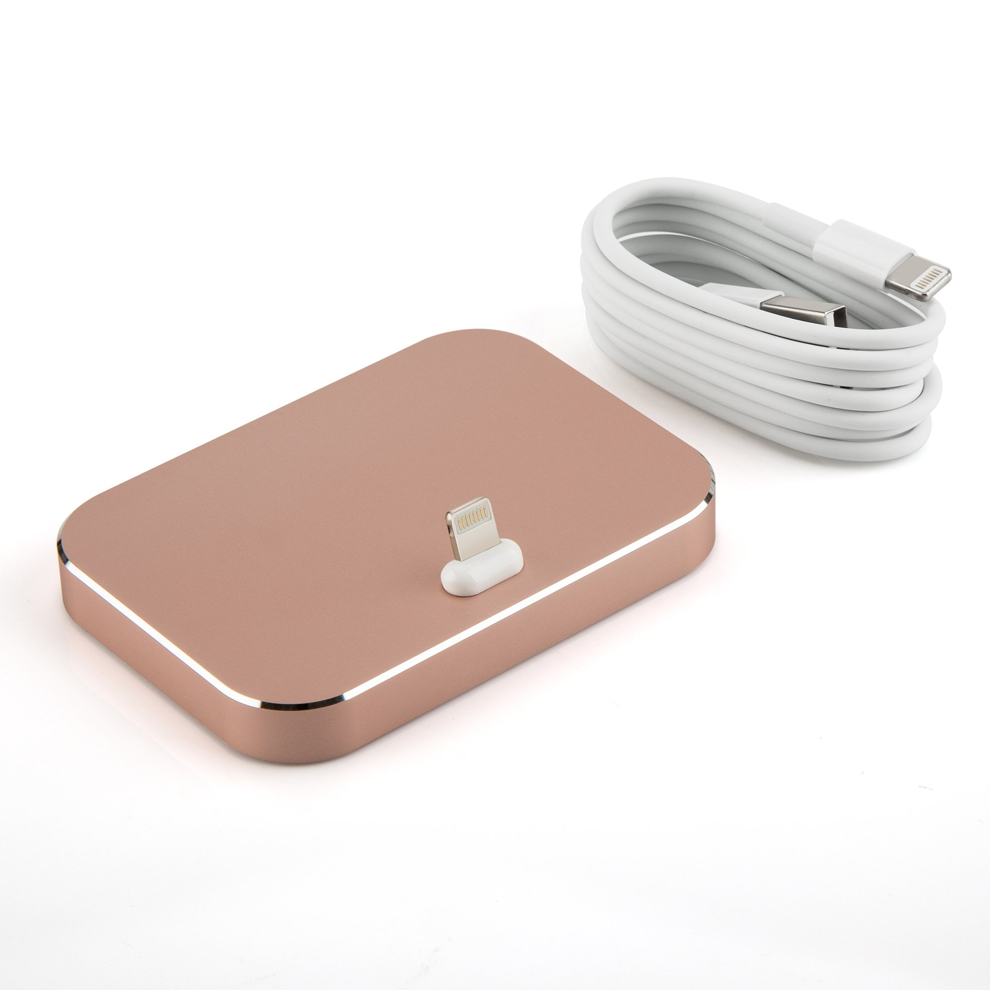 Lightning Dockinstation OKCS Aluminium Dockingstation + 1 Meter USB Charge Cable for iPhone SE, 6s Plus, 6 5, 5s, 5c, iPod Touch & Nano in Rose Gold by OKCS