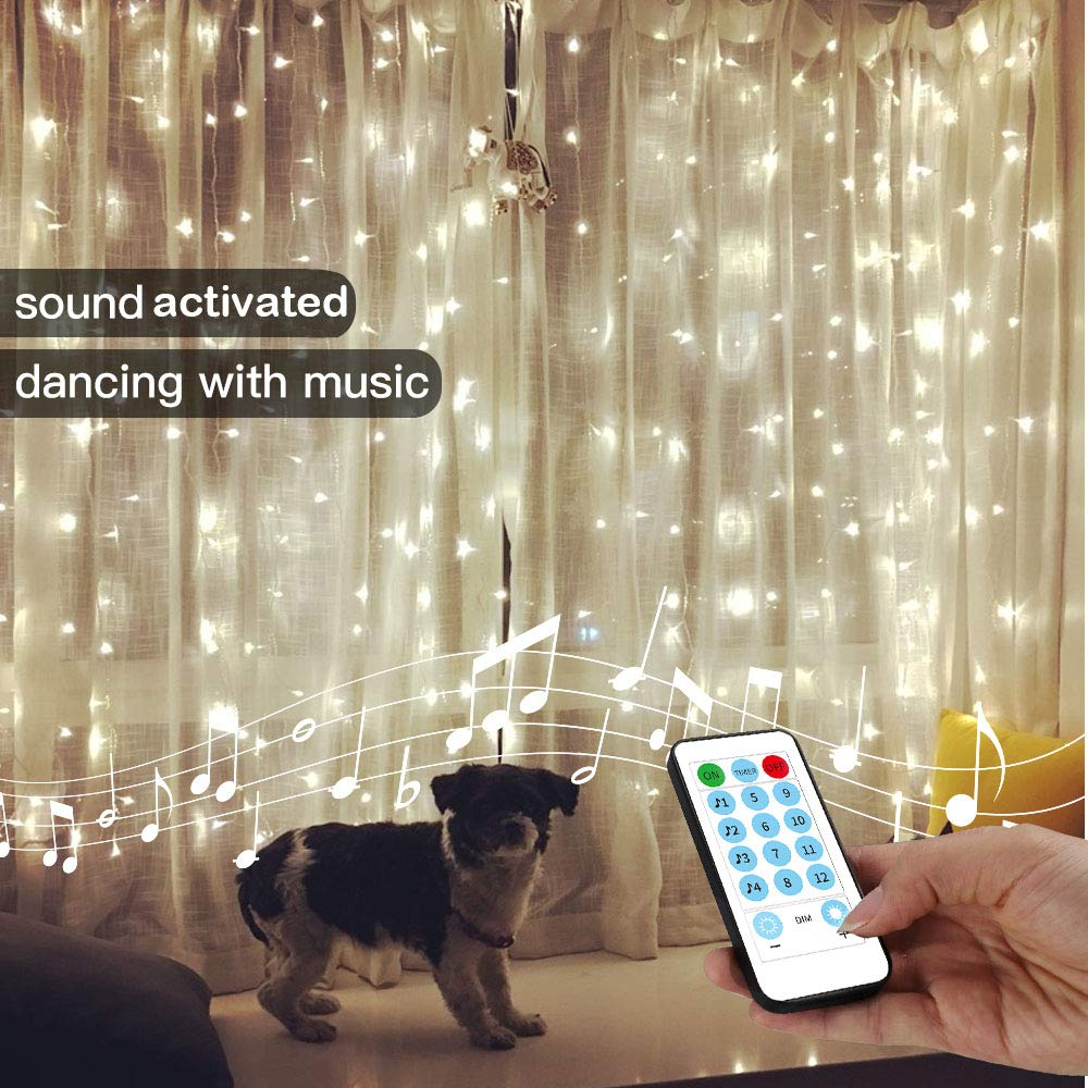 YEOLEH String Lights Curtain,USB Powered Fairy Curtain Lights for Party Wall Decorations,Sound Activated Function Can Sync with Any Voice (White,7.9Ft x 5.9Ft)