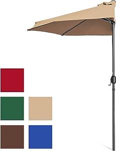 Best Choice Products 9ft Steel Half Patio Umbrella w/Crank Mechanism - Tan