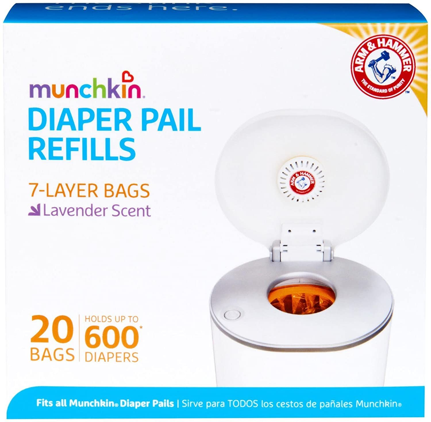 Munchkin Arm & Hammer Diaper Pail Snap with Seal and Toss Refill Bags, 12 Count