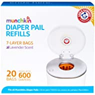 Munchkin Arm & Hammer Diaper Pail Snap, Seal and Toss Refill Bags, 20 Bags, Holds 600 Diapers