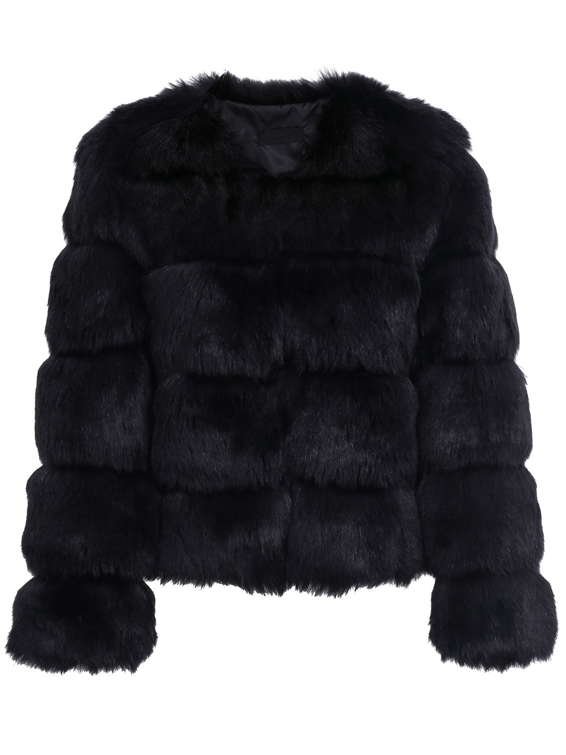 Simplee Women Luxury Winter Warm Fluffy Faux Fur Short Coat Jacket Parka Outwear, Black, 0/2, Small