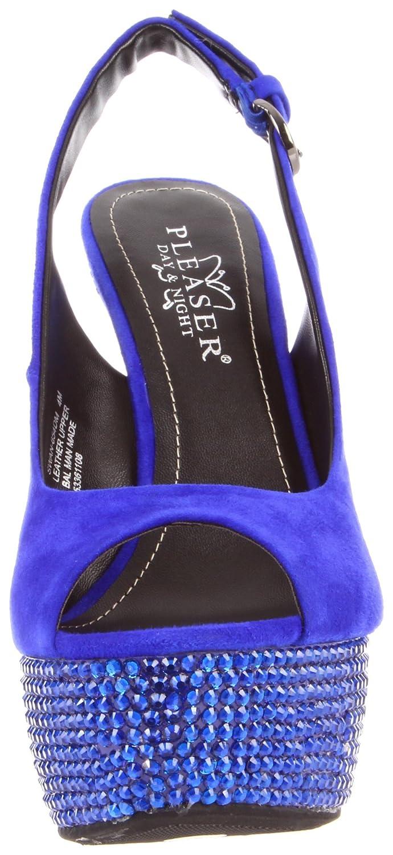 0107ee6fc8de9 Pleaser Women's Swan-654DM/RYBLS Platform Sandal, Royal Blue Suede ...