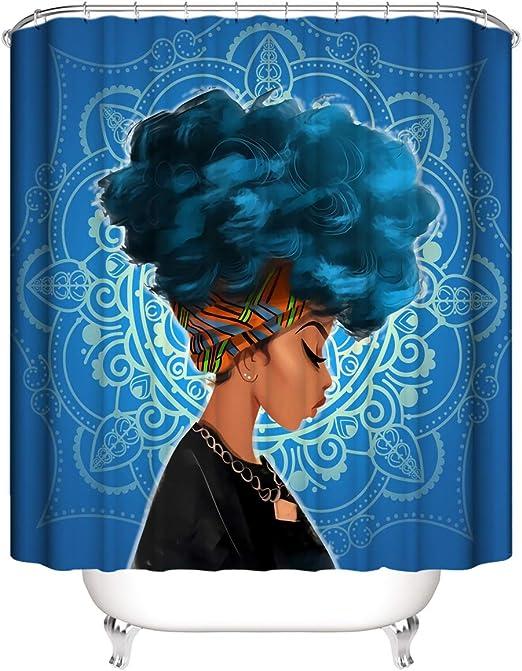 Watercolor Blue Hair Afro African Women Waterproof Fabric Bath Shower Curtain