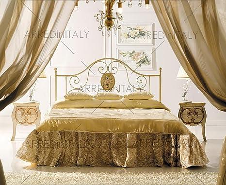 Cama de matrimonio de hierro color marfil con somier ...