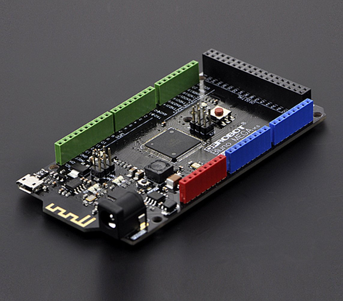 Bluno Mega 2560 - An Arduino with Bluetooth 4.0 /. It allows wireless programming via BLE, supports Bluetooth HID, AT command to config BLE and you can upgrade BLE firmware easily