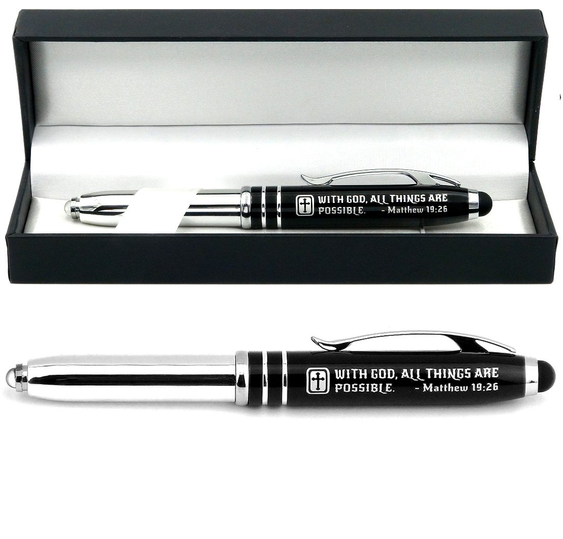 Matthew 19:26 Gift Pen with LED Light and Stylus Tip -With God All Things Are Possible. - Inspirational Religious Bible Gift for Christian Man Woman - Engraved with Scripture and Cross