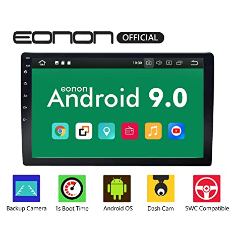 Eonon Double Din Car Stereo with Bluetooth 5 0, Android 9 0 Car Android  Auto Radio 10 1 Inch Head Unit,Support Backup Rear View Camera Steering  Wheel