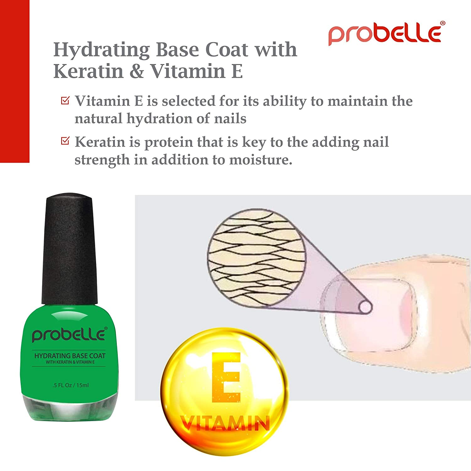 Amazon.com: Probelle Hydrating Base Coat for Dry Nails and Brittle ...