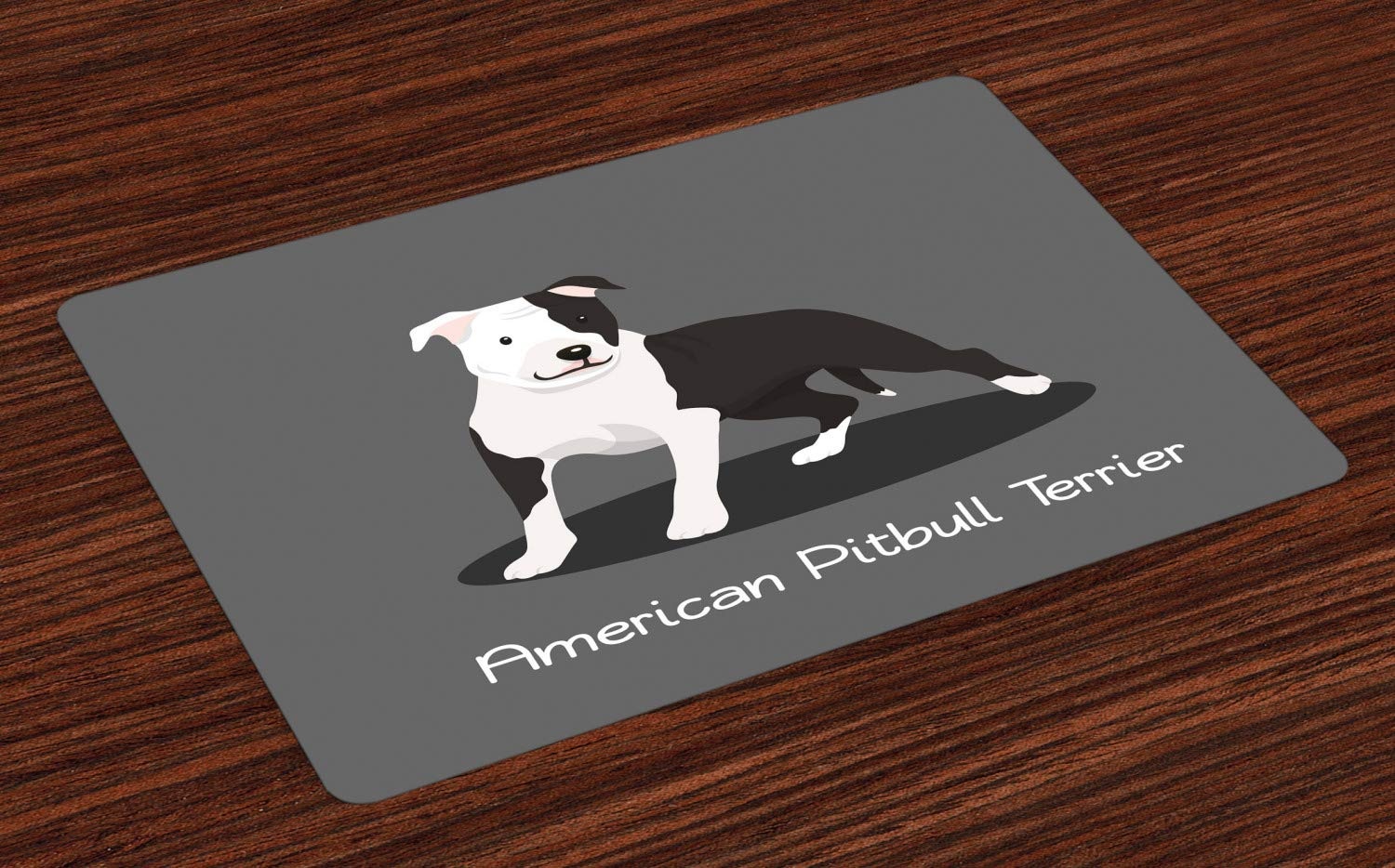 Ambesonne Pitbull Place Mats Set of 4, American Pitbull Terrier Pet Cartoon Illustration Graphic Design on Grey Background, Washable Fabric Placemats for Dining Room Kitchen Table Decor, Multicolor