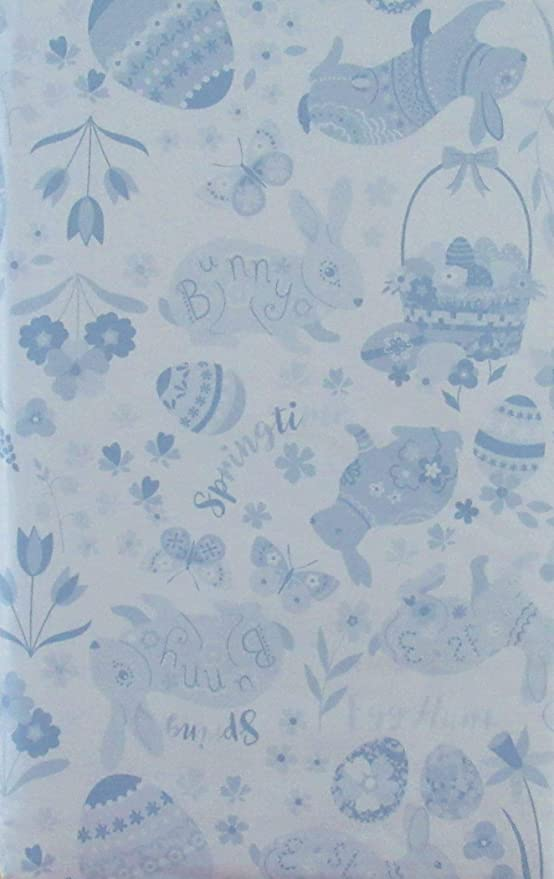 Elrene Home Fashions 52 x 120 Oblong Flowers and Easter Eggs Vinyl Flannel Back Tablecloth Happy Easter Lace Butterflies Blue, 52 x 120 Oblong