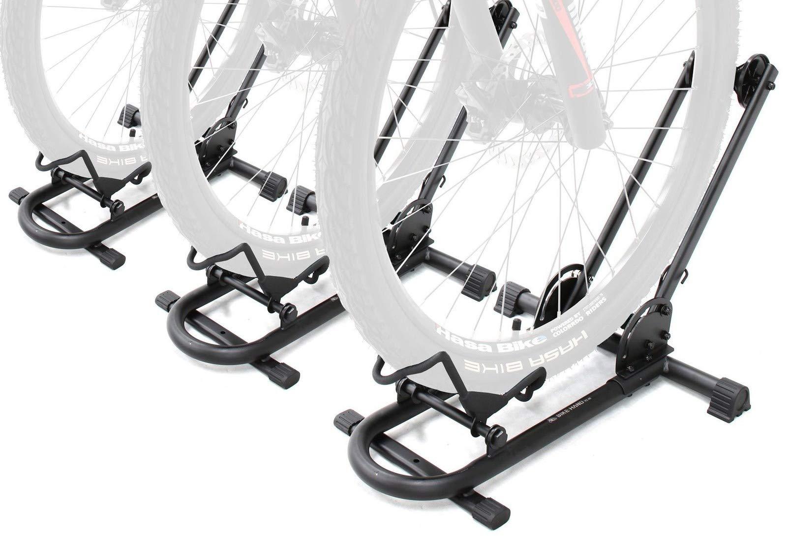 Bikehand Repacked Bicycle Floor Type Parking Rack Stand - for Mountain and Road Bike Indoor Outdoor Nook Garage Storage Pack of 3 by Bikehand