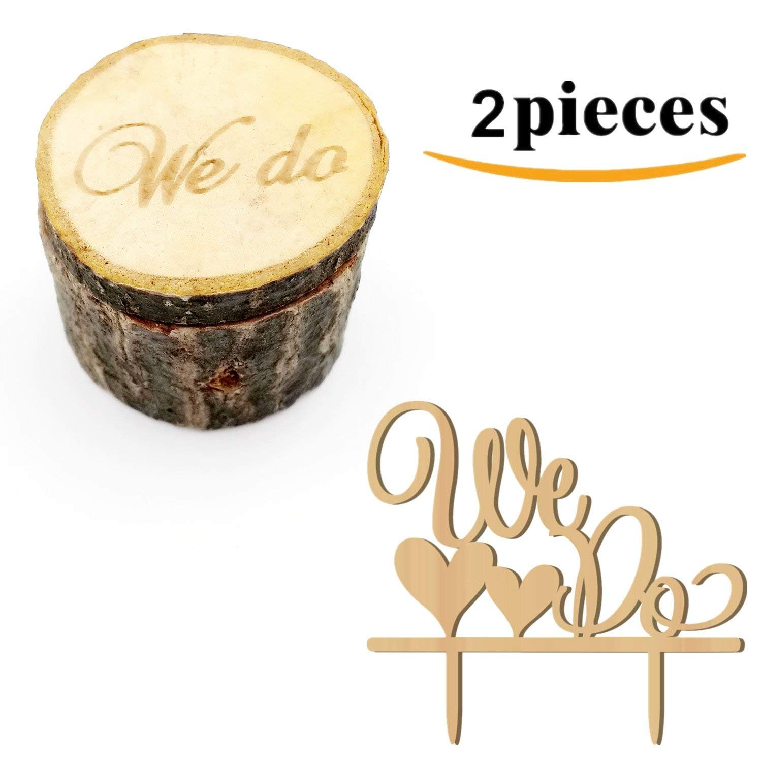 Kalevel 2pcs We Do Wedding Ring Box Cake Cupcake Toppers Rustic Wooden Ring Bearer Box Vintage Personalized Funny Wedding Cake Toppers Decorations Cake Insert Card Ring Holder for Wedding Ceremony by Kalevel (Image #8)