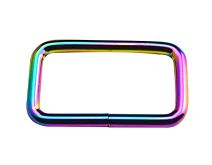 Wuuycoky 1 Inner Length Iridescent Color Rectangle Rings Loop Ring No Welded for Strap Webbing Belts Buckle Pack of 12