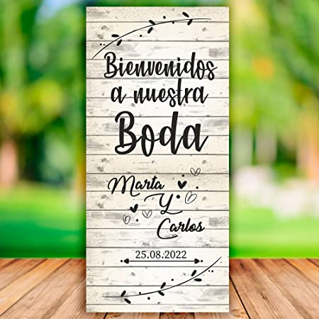Decoración Boda | Cartel Boda Bienvenidos White | 70cm x ...