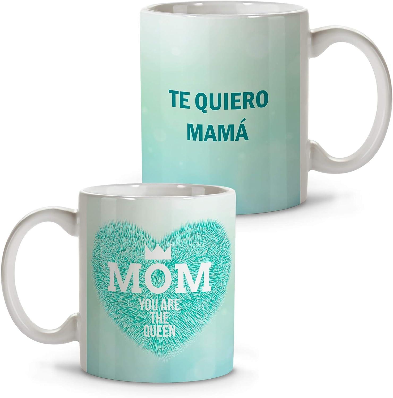 Taza Desayuno Mama Personalizada con Nombre/Texto. Regalos Dia de la Madre Personalizados. Varios Diseños y Colores de Interior. Reina Azul