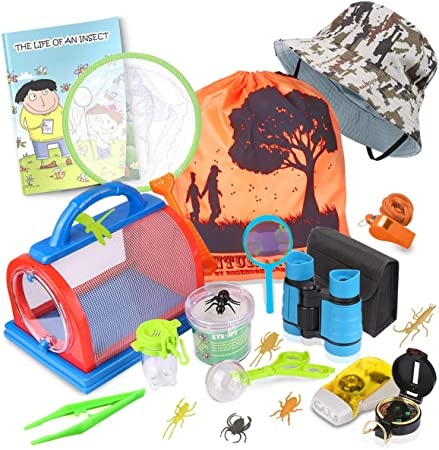 ESSENSON Outdoor Explorer Kit & Bug Catcher Kit with Binoculars, Compass, Magnifying Glass, Critter Case and Butterfly Net Great Toys Kids Gift for Boys & Girls Age 3-12 Year Old Camping Hiking