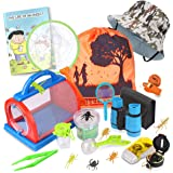 Outdoor Explorer Kit & Bug Catcher Kit with Binoculars, Flashlight, Compass, Magnifying Glass, Critter Case and Butterfly Net