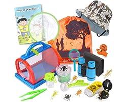 ESSENSON Outdoor Explorer Kit & Bug Catcher Kit with Binoculars, Compass, Magnifying Glass, Critter Case and Butterfly Net Gr