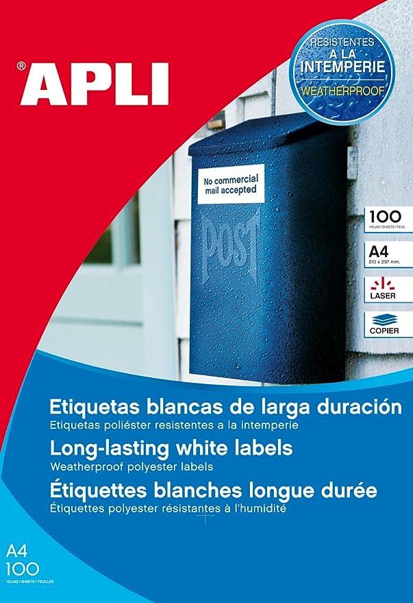 APLI 12917, Etiquetas blancas permanentes 210,0 x 297,0 mm 10 hojas, Blanco: Amazon.es: Oficina y papelería