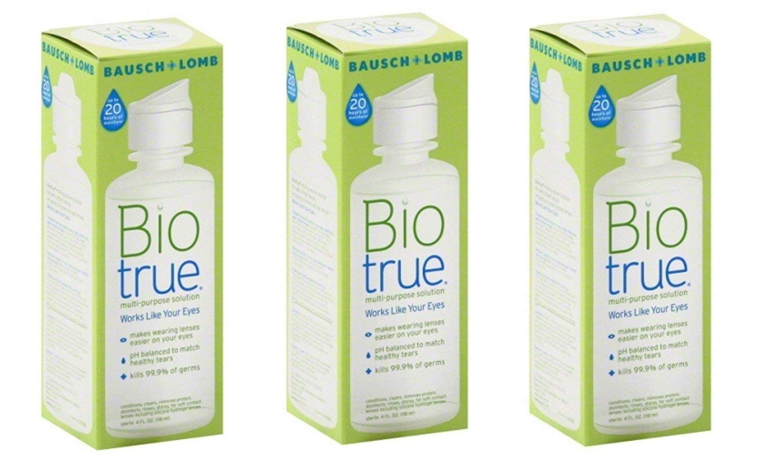 Bausch and Lomb Bio True Multi-Purpose Solution 2 Oz Travel Size (Pack Of 3)