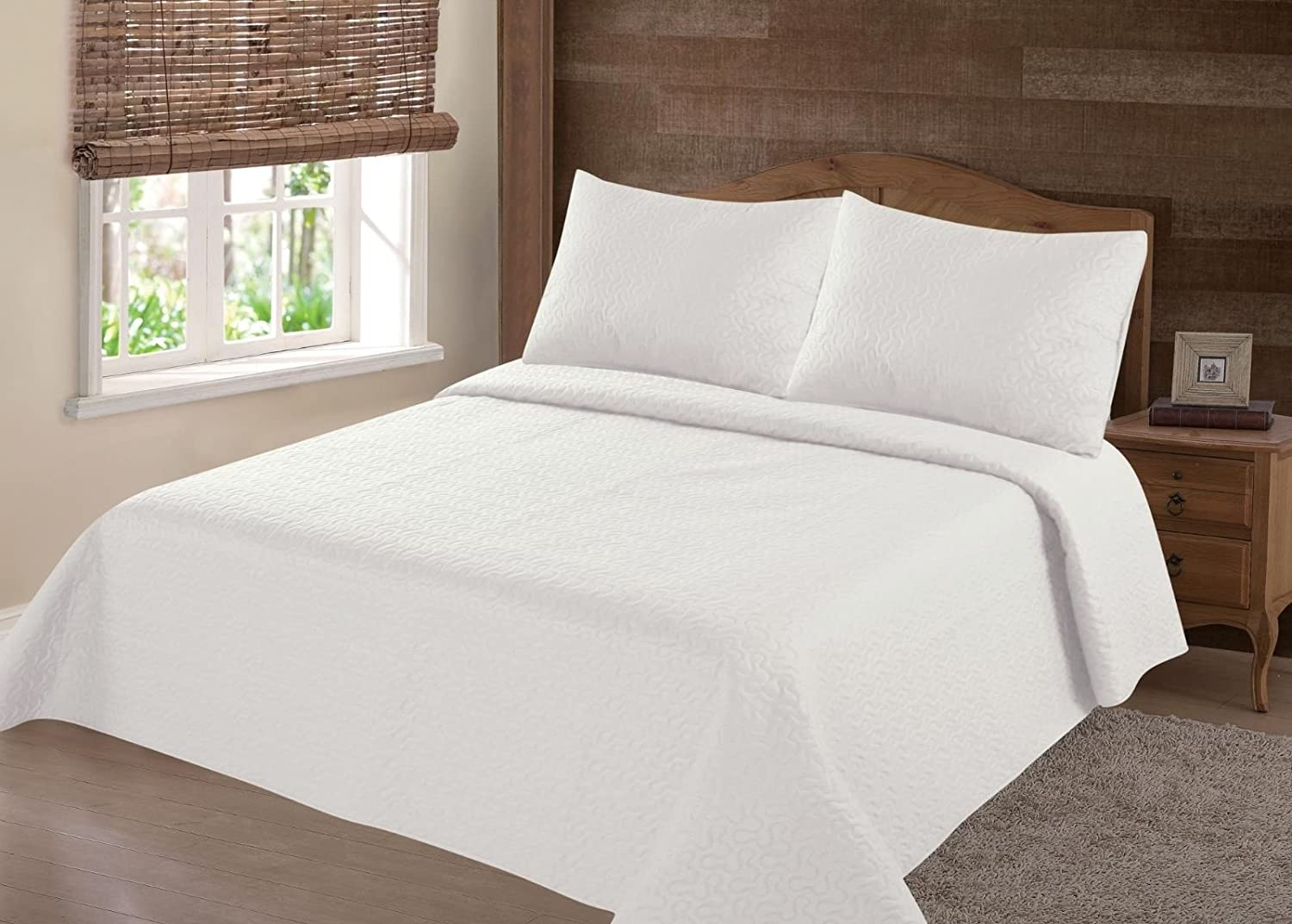 GorgeousHomeLinen (NENA) Ivory off White Solid Hypoallergenic Quilt Bedspread Bed Bedding Coverlets Cover Set with Pillow Cases Size inc: Twin (2pc) Full Queen King (3pc) (Full)