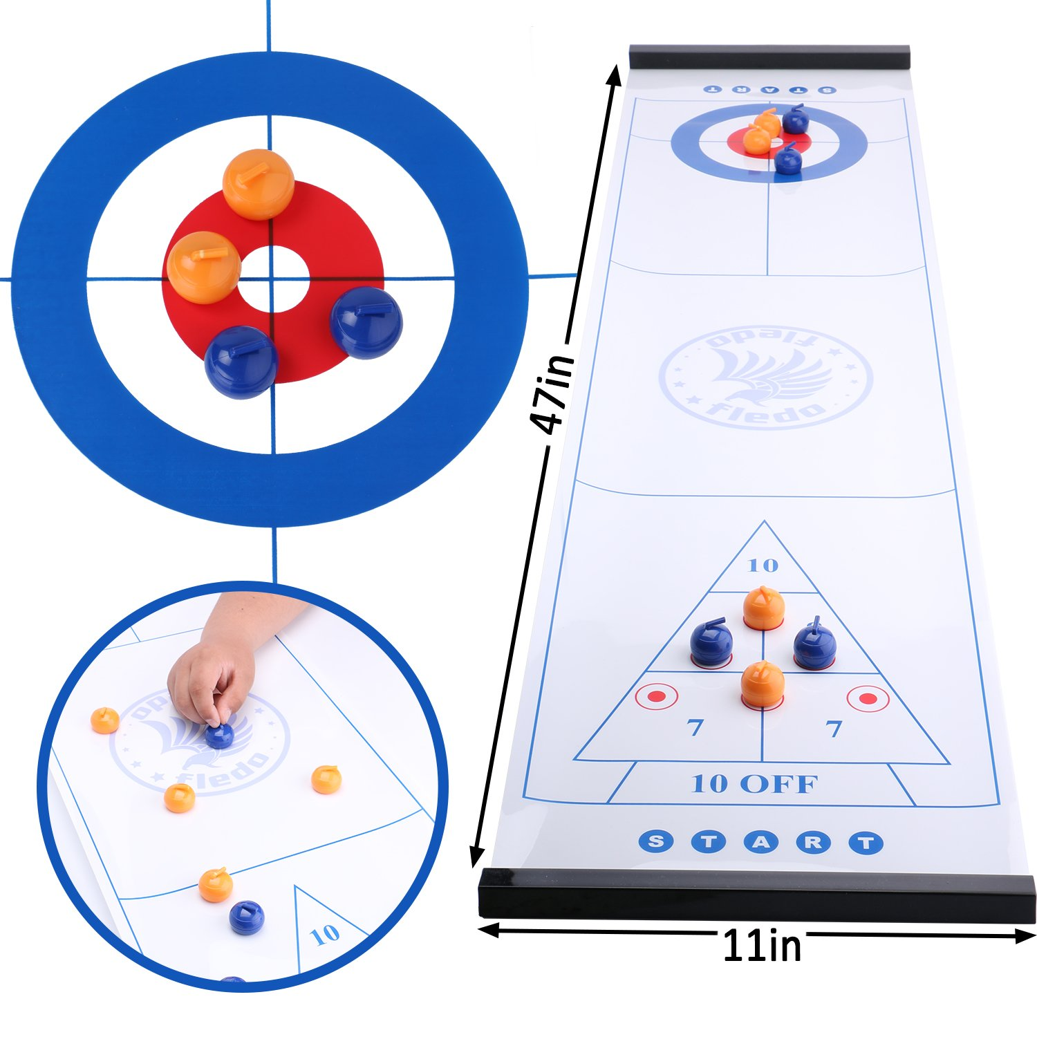 Fledo 3-in-1 Table Games for Families - Tabletop Curling 、Shuffleboard and Bowling Games - Quick and Easy to Set-up - for Adults and Kids - Family Game or Travel Game