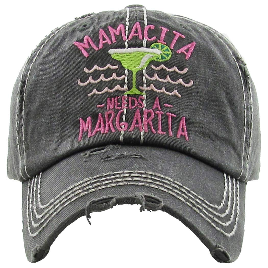 Mamacita Needs a Margarita  Black Funky Junque Womens Baseball Cap Distressed Vintage Unconstructed Embroidered Dad Hat