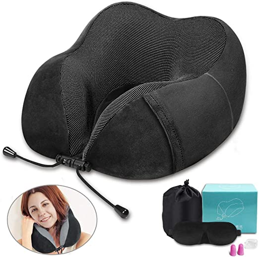 Machine Washable and Luxury Bag Earplugs Comfortable /& Breathable Cover Airplane Travel Kit with 3D Sleep Mask MLVOC Travel Pillow 100/% Pure Memory Foam Neck Pillow Blue