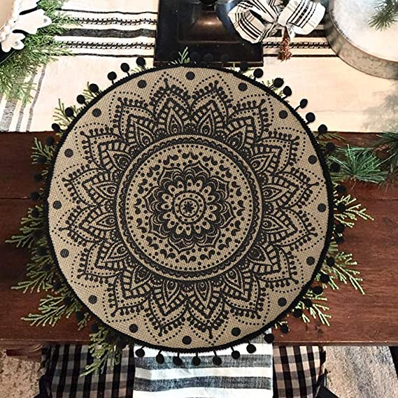 Collive Boho Round Placemat 15 Inch Farmhouse Woven Jute Fringe Table Mats Set Of 4 With Pompom Tassel Place Mat For Dining Room Kitchen Table Decor Black Mandala Flower Home