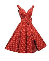 50er Jahre Rockabilly-Kleid INKLUSIVE PETTICOAT 50's - Dolly Rot