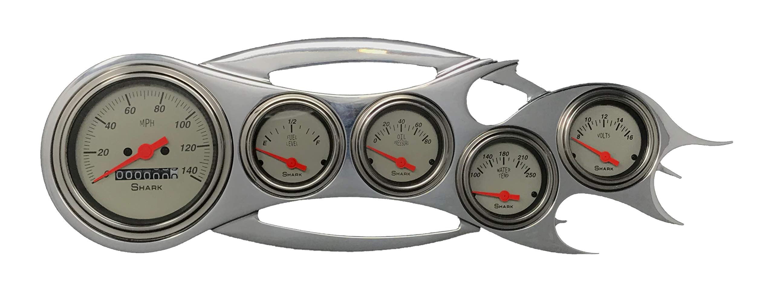Universal Flame - 5 Gauge Dash Cluster Panel - Mechanical -Shark by Dolphin Gauges