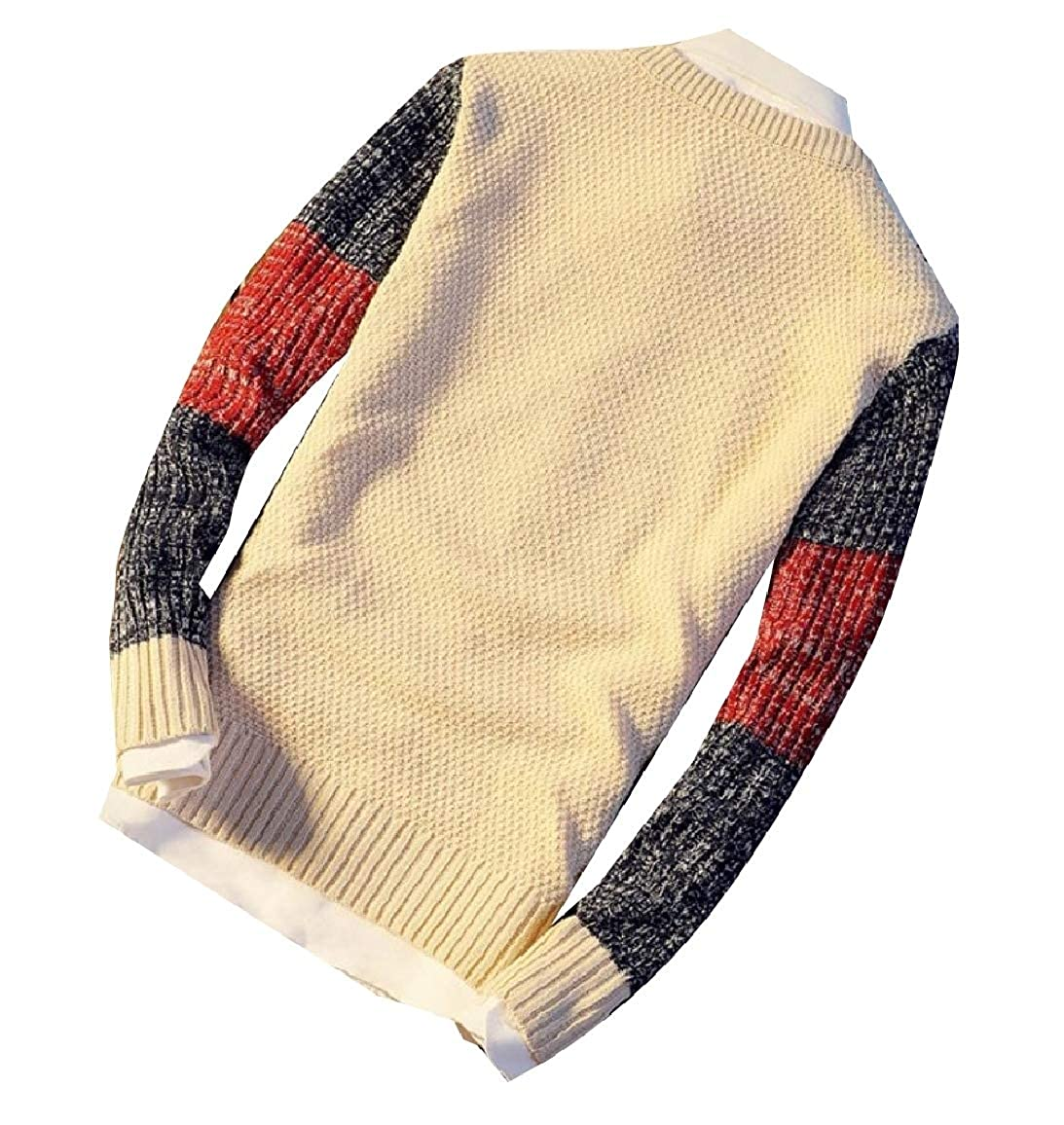 Sebaby Mens Thin Crew-Neck Stitch Contrast Slim Fit Knitwear Sweaters